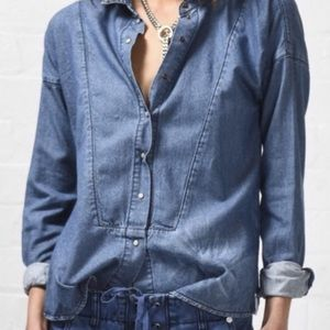 One Teaspoon Imperial Chambray Button Down Short